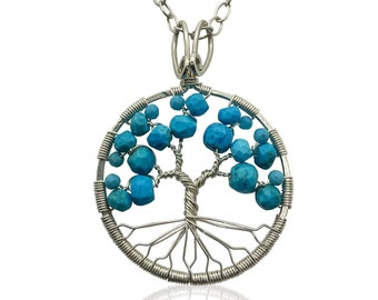 Silver Turquoise Tree of Life Pendant Necklace for Women 11th Anniversary December Birthstone Sagittarius Capricorn Gift