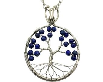 Silver Lapis Lazuli Tree of Life Pendant Necklace for Women 9th Anniversary September Birthstone Virgo