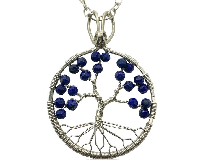 Silver Lapis Lazuli Tree of Life Pendant Necklace for Women 9th Anniversary September Birthstone Virgo