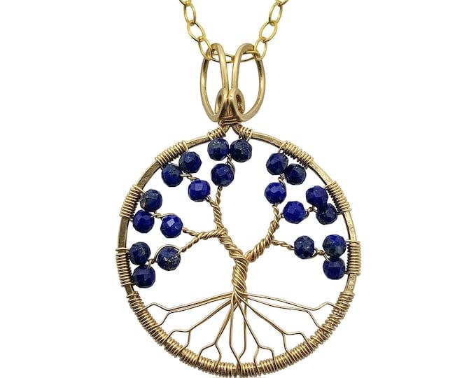 Gold Lapis Lazuli Tree of Life Pendant Necklace for Women 9th Anniversary September Birthstone Virgo