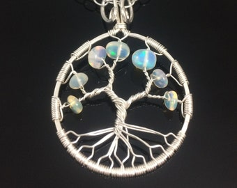 Opal Tree of Life| Silver Fire Opal Necklace|tree-of-life|14th anniversary|34th anniversary|Personalized Gift For Her|October Birthstone