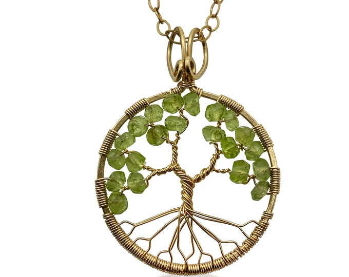 Gold Peridot Tree of Life Pendant Necklace for Women, 1st Anniversary, August Birthstone Gift