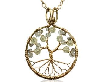 Gold Topaz Tree of Life Pendant Necklace for Women 23rd Anniversary November Birthstone Scorpio Sagittarius