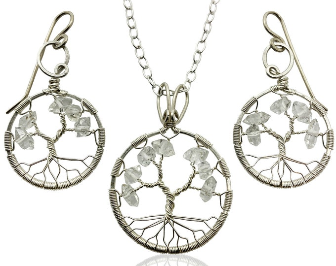 Herkimer Diamond Jewelry Set Sterling Silver Tree-of-Life April Birthstone Anniversary Gift