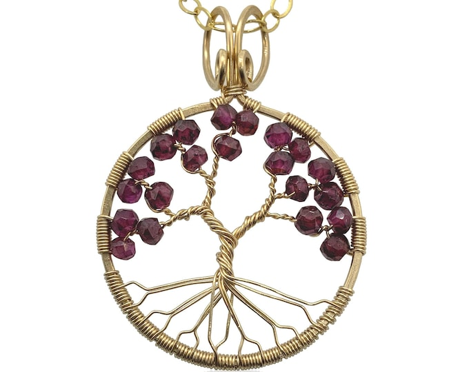 Tree of Life Garnet Chakra Pendant Necklace for Women - Gold Filled Wire and January Birthstone Gems