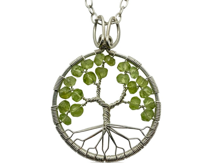 Silver Peridot Tree of Life Pendant Necklace for Women, 1st Anniversary, August Birthstone Gift