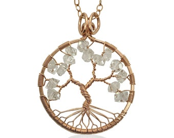 """Rose Gold Herkimer Diamond Statement Necklace 24"""" Chain April Birthday 15th Anniversary Tree of Life"""