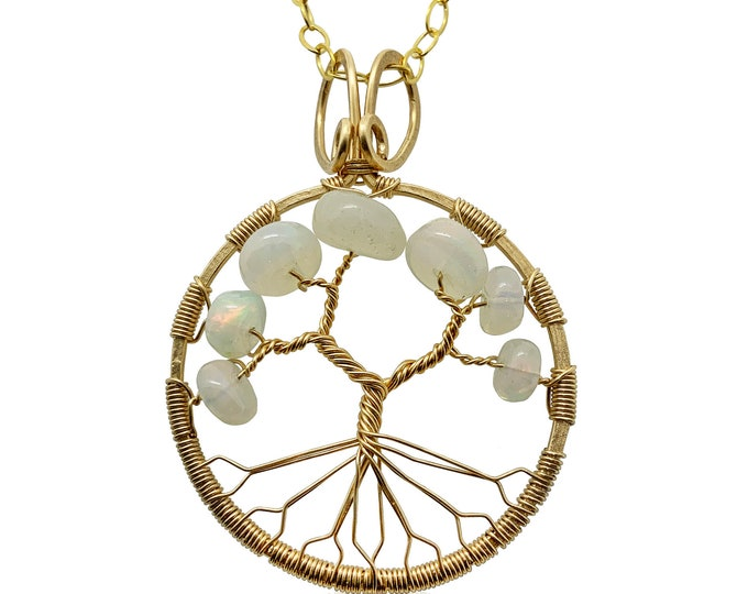 October Birthstone Gold Opal Tree of Life Pendant Necklace for Women 14th Anniversary Gift Libra