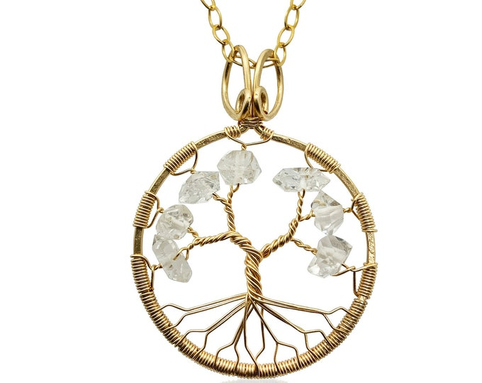 Herkimer Diamond Gold Tree-Of-Life Gold Necklace Aries Taurus Leo April Birthstone Statement Necklace Diamond Anniversary Healing Crystal