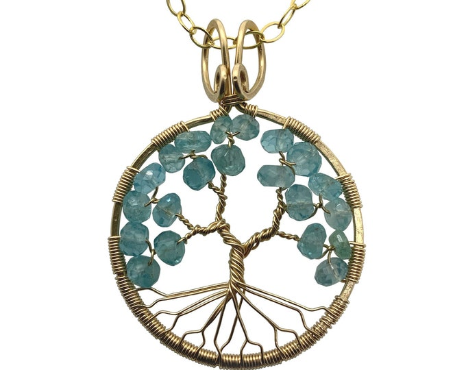 Gold Blue Apatite Tree-of-Life Pendant March Birthstone Pisces Necklace Gift for Her