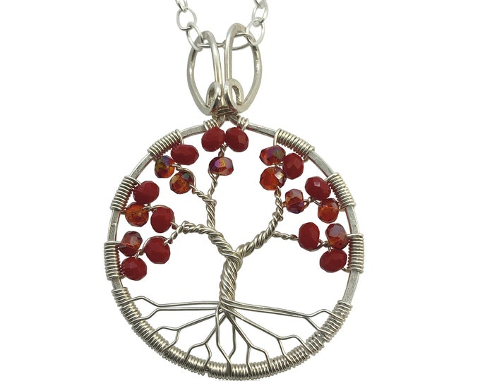 Silver Crystal Tree of Life Pendant Necklace for Women, 40th Anniversary, July Birthstone Gift