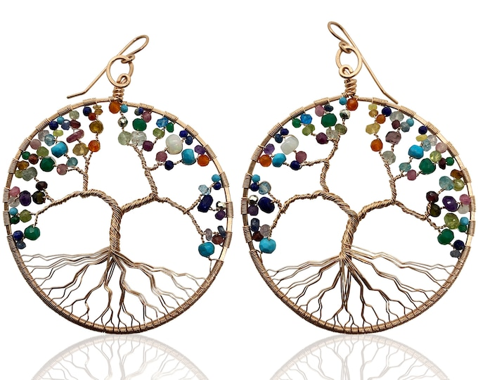 Giant Hoop Tree of Life Earrings in Rose Gold and Mixed Colorful Gemstones