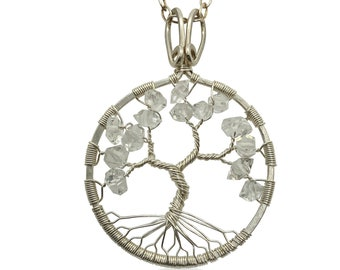 """Silver Herkimer Diamond Statement Necklace 24"""" Chain April Birthday 15th Anniversary Tree of Life"""
