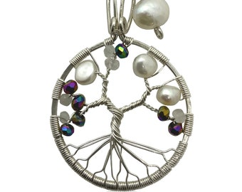 Tree-of-Life Charm Alexandrite Freshwater Pearl Moonstone Necklace 3rd Anniversary Gift Silver 925