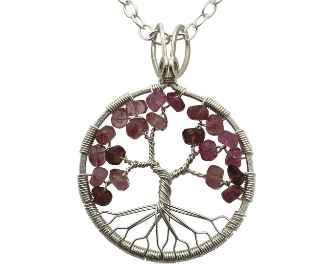 Cherry Blossom Tree-Of-Life Necklace Silver Tree of Life Wire Wrapped Pink Tourmaline October Birthstone Libra Heart Chakra 8th Anniversary