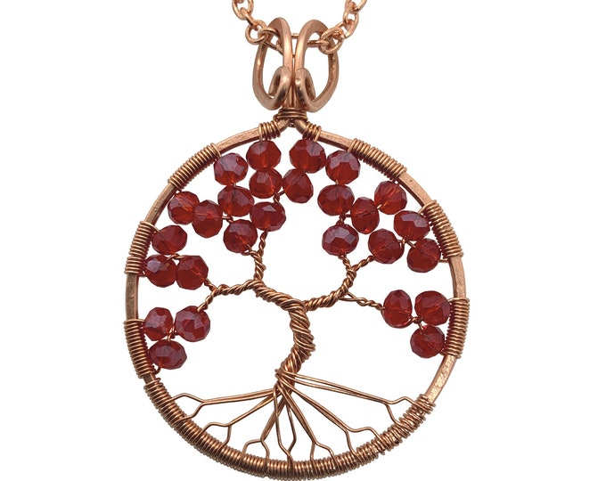 """Ruby Red Tree of Life Copper Statement Necklace 24"""" Chain July Birthstone 40th Anniversary"""