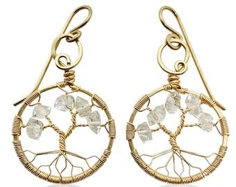 Gold Herkimer Diamond Tree-Of-Life Gold Earrings April Birthstone Aries Taurus 10th Anniversary Gift