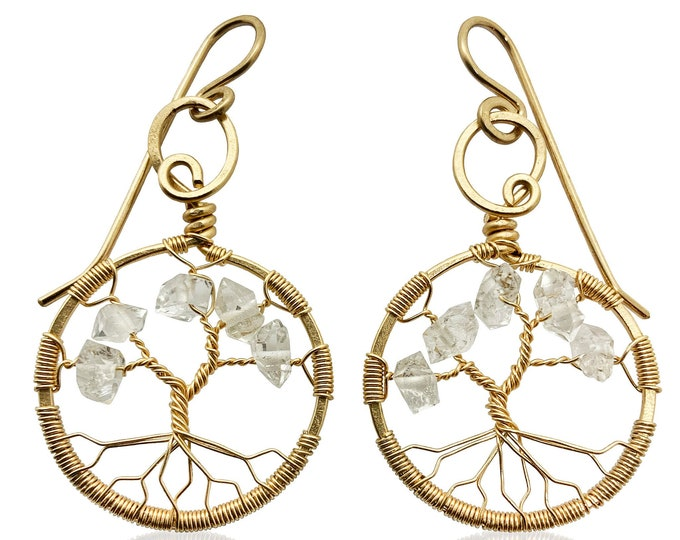 Gold Herkimer Diamond Tree-Of-Life Gold Earrings April Birthstone Aries Taurus 10th Anniversary Gift