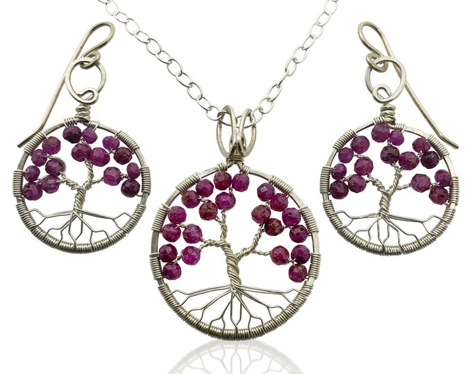Silver Ruby Tree of Life Jewelry Gift Set for Women, 40th Anniversary, July Birthstone Gift