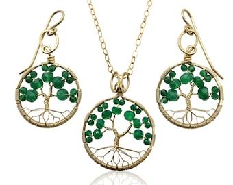 Gold Emerald Green Onyx Tree of Life Jewelry Set May Birthstone for Gemini Taurus