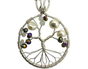 Tree-of-Life Pendant Alexandrite Freshwater Pearl Moonstone Necklace 3rd Anniversary Jewelry Sterling Silver Boho Jewelry Women 30th Gift
