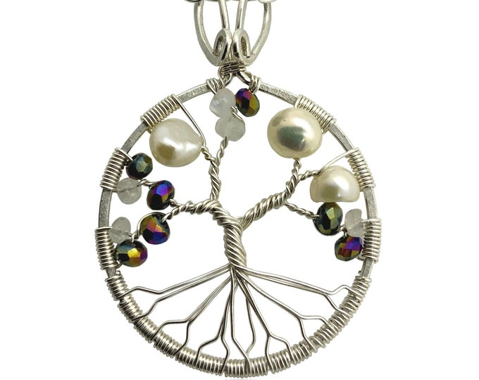 Tree-of-Life Pendant Synthetic Alexandrite Freshwater Pearl Moonstone Necklace 3rd Anniversary Jewelry Sterling Silver Women 30th Gift