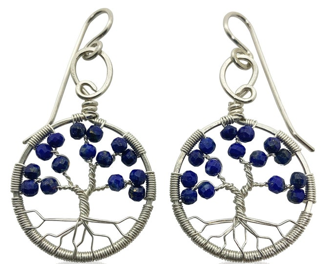 Silver Lapis Lazuli Tree of Life Earrings for Women, 9th Anniversary, September Birthstone Gift Virgo