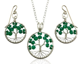 Silver Emerald Green Onyx Tree of Life Jewelry Set May Birthstone for Gemini Taurus