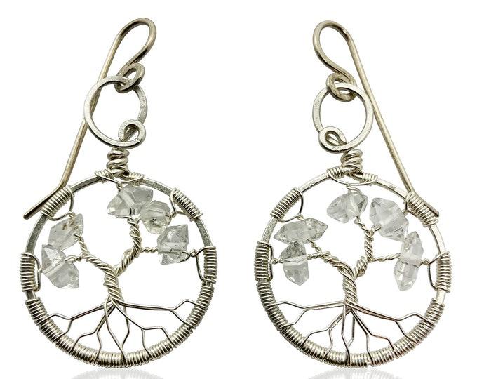 Herkimer Diamond Tree Of Life Earrings Sterling Silver April Birthstone