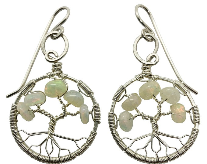 October Birthstone Gold Opal Tree of Life Earrings for Women 14th Anniversary Gift  Libra