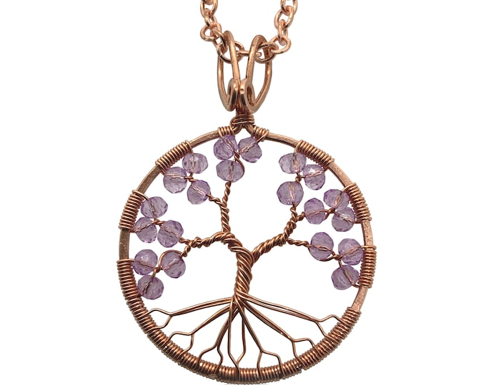Amethyst Tree-Of-Life Copper Pendant Wire-wrapped Necklace February Birthstone Pisces