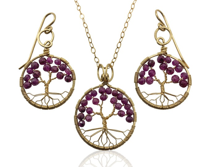 Gold Ruby Tree of Life Jewelry Gift Set for Women, 40th Anniversary, July Birthstone Gift