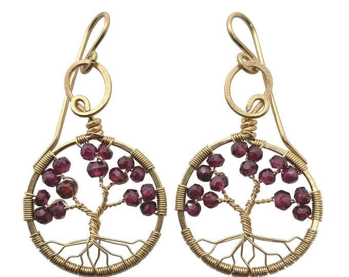 Garnet Gold Tree-of-Life Earrings, January Birthstone, 2nd Anniversary Gift, Capricorn, Aquarius, Judaica