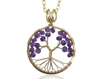 Amethyst Tree of Life February Birthstone Pendant Gold Tree-of-Life Aquarius Pisces 4th Anniversary 6th Anniversary Healing Crystal Chakra