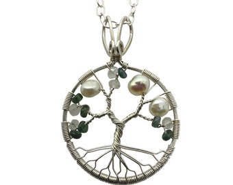 Real Alexandrite Silver Tree-of-Life Pendant with Freshwater Pearls and Moonstone 3rd Anniversary Jewelry Silver Jewelry for Women 30th Gift