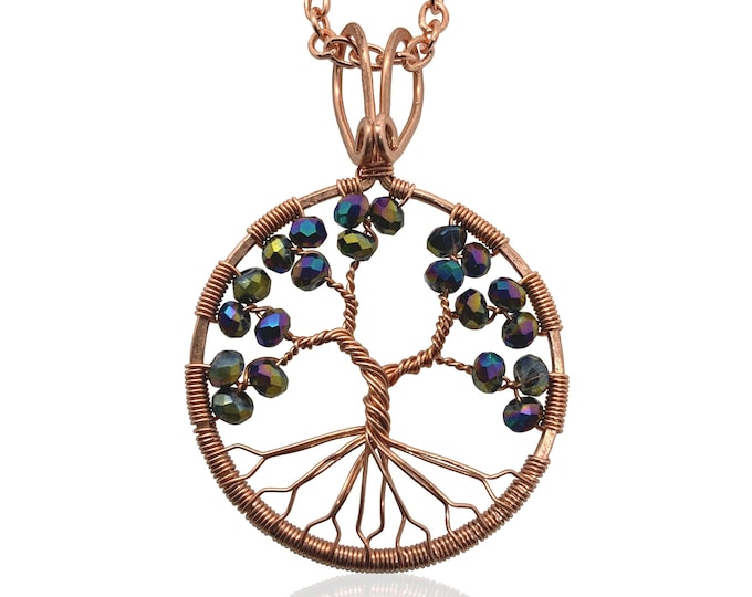 Alexandrite Colored Crystal Copper Tree-Of-Life Necklace June Birthstone Gemini Cancer 15th Anniversary