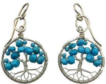 Silver Turquoise Tree of Life Earrings for Women, 11th Anniversary, December Birthstone Gift Sagittarius Capricorn