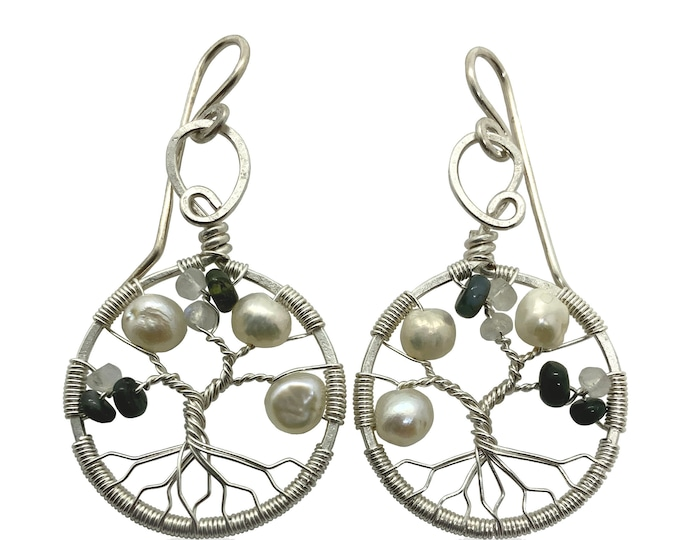 Real Alexandrite Silver Tree-of-Life Earrings, Freshwater Pearls and Moonstone 3rd Anniversary Jewelry Silver Jewelry for Women 30th Gift