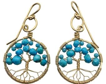 Gold Turquoise Tree of Life Earrings for Women, 11th Anniversary, December Birthstone Gift Sagittarius Capricorn