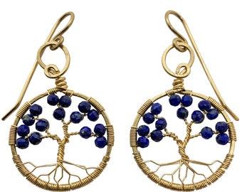 Gold Lapis Lazuli Tree of Life Earrings for Women, 9th Anniversary, September Birthstone Gift Virgo