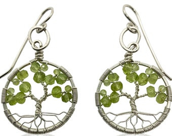 Silver Peridot Tree of Life Earrings for Women, 1st Anniversary, August Birthstone Gift
