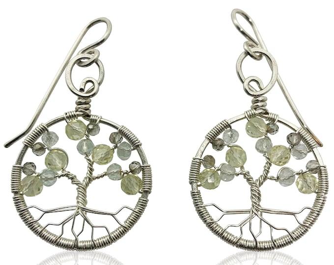 Silver Topaz Tree of Life Earrings for Women, 23rd Anniversary, November Birthstone Gift Scorpio Sagittarius