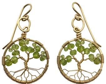 Gold Peridot Tree of Life Earrings for Women, 1st Anniversary, August Birthstone Gift