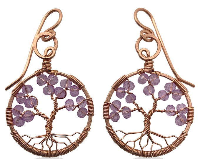 Copper Tree of Life Amethyst Colored Crystal Earrings, February Birthstone, 6th Anniversary, Aquarius and Pisces