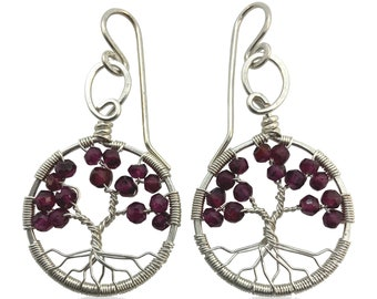 Silver Garnet Tree of Life Earrings, January Birthstone, 2nd Anniversary Gift, Capricorn