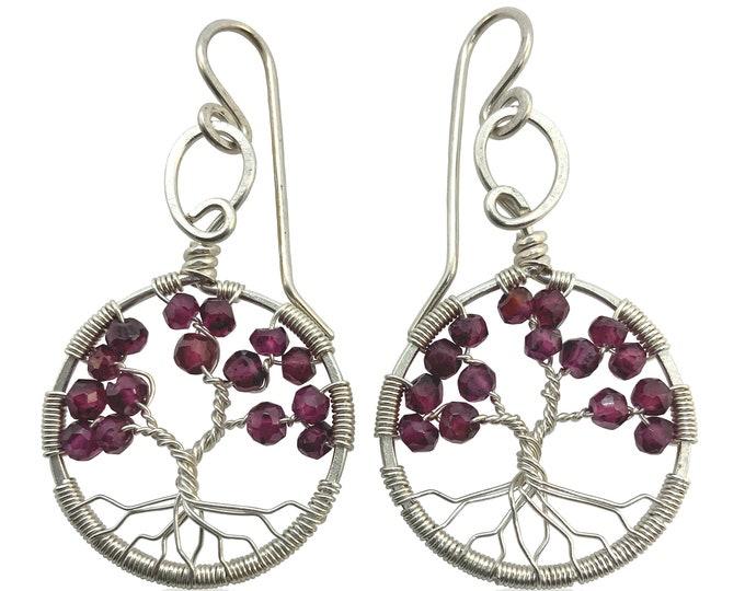 Silver Garnet Gemstone Tree of Life Earrings, January Birthstone, 2nd Anniversary Gift, Capricorn