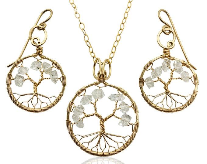 Gold Herkimer Diamond Tree-Of-Life Gold Jewelry Set April Birthstone Aries Taurus 10th Anniversary Gift