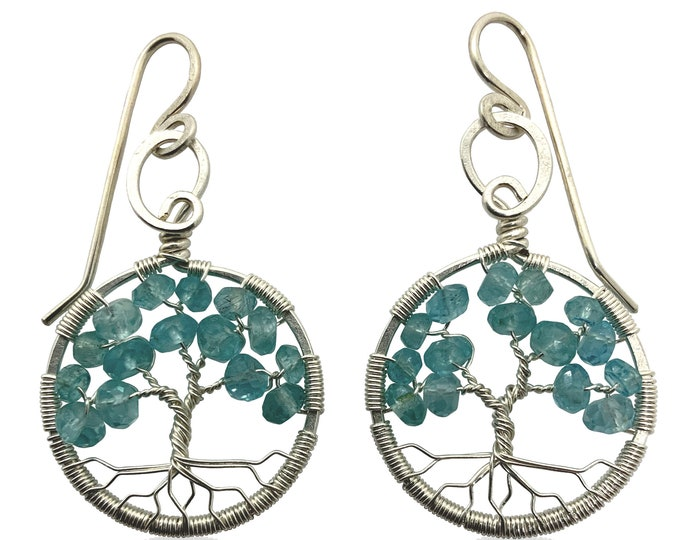 Silver Blue Apatite Tree-of-Life Earrings March Birthstone Pisces Aries 18th & 19th Anniversary Gift