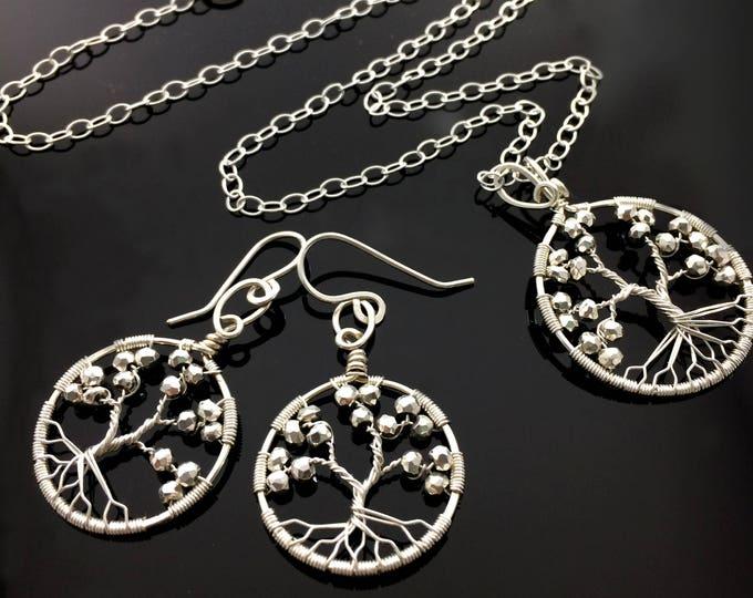 Hematite Jewelry Set For Women|Tree of Life|Hematite|11th anniversary||Personalized Gift For Her|Aries|Aquarius|Birthstone|Root Chakra|Roots