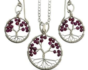 Sterling Silver Garnet Tree-Of-Life Jewelry Set, Pendant and Earrings, January Birthstone, 2nd Anniversary, Capricorn Aquarius